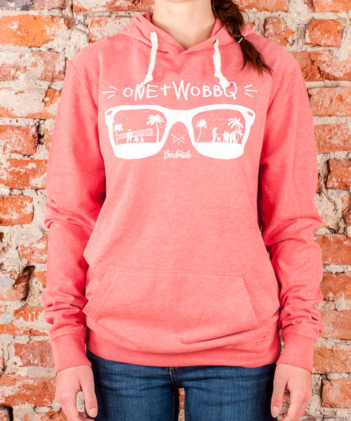 "Hoodie ""One Two BBQ"", Uni, Mid Heather Red"