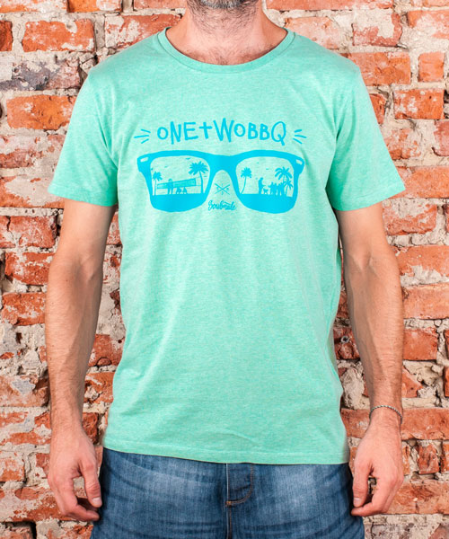 "T-Shirt ""One Two BBQ"", Men, Mid Heather Green"