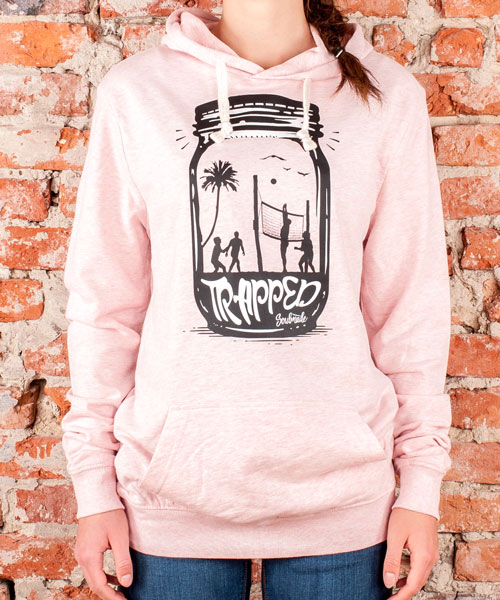 "Hoodie ""Trapped"", Uni, Cream Heather Pink"