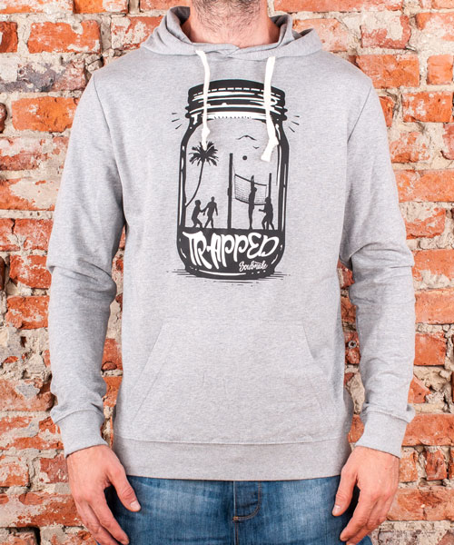 "Hoodie ""Trapped"", Uni, Heather Grey"